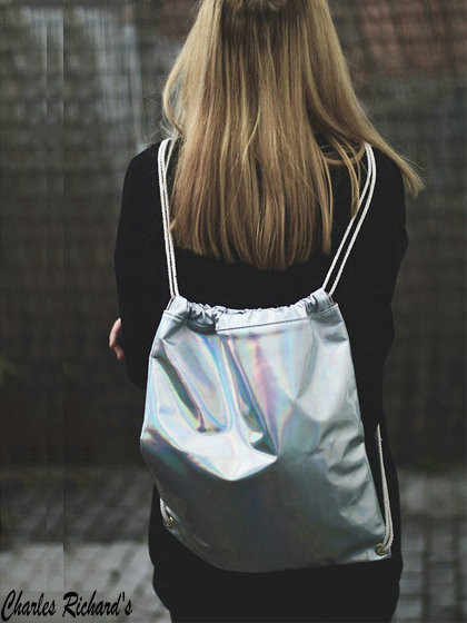 abb772669 ... Women Hologram Backpack Silver Drawstring School Bag For Teenagers  Student Women's Laser Holographic Bag Sack package ...