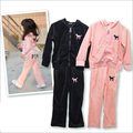 Baby girls clothing sets Spring Autumn children's wear velvet casual letters tracksuits kids clothes sports suit