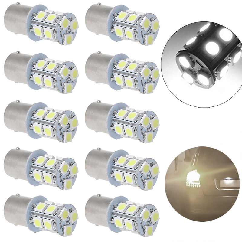 цена на 10x White 1156 BA15S 5050 3 chips SMD RV Camper Trailer LED Interior Light Bulbs 12 V 6000K 40mm