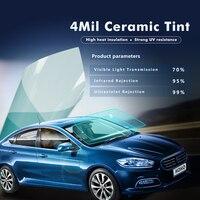 SUNICE VLT70% Light Blue Car Window Foils Car Windshield Sticker Film 4mil Thickness Nano Ceramic Tint Solar Protection 0.5x6m