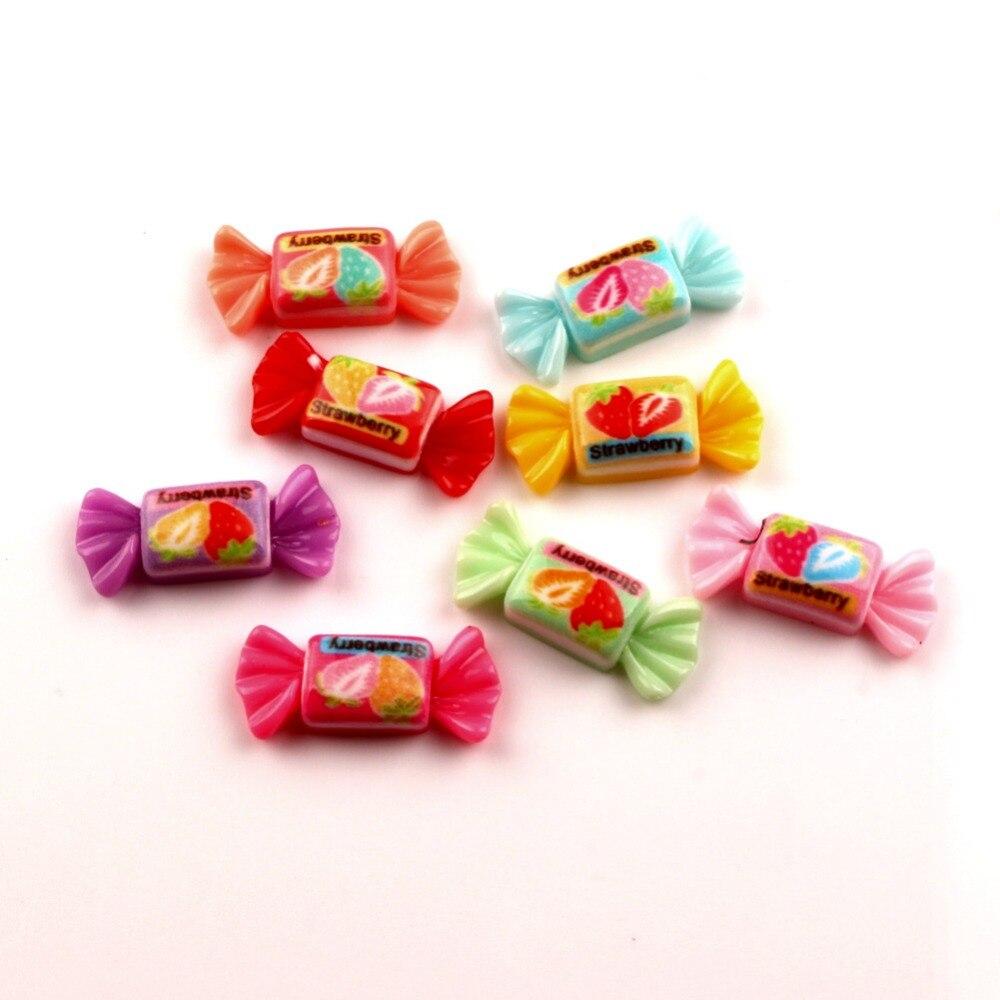 50 шт. смешанный резиновый конфеты Украшения бусинами объемные с плоским дном для скрапбукинга для украшения Kawaii Diy аксессуары