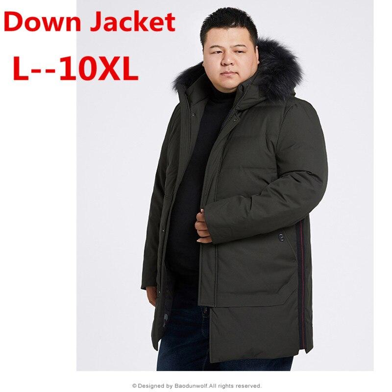 10XL 9XL 8XL 6XL 5XL Nouveaux Hommes vers le bas veste D'hiver Chaud Épais De Mode de Patchwork Hommes col De Fourrure À Capuchon Hommes blanc duvet de canard veste