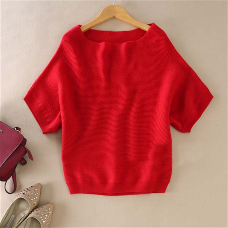 zocept High-Quality Cashmere Sweater Women Loose Casual Big Bat Shirt Short-Sleeved Kintted Soft and Comfortable Pullovers 1