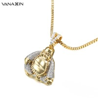 VANAXIN Happy Buddha Pendant Necklaces Charm Punk Jewelry For Men Lucky Amulet Fashion Bling Bling CZ Pendants Women Gift Box