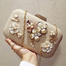 2018 Plastic Flower Party Luxury Evening Bag Gold Rhinestones Pearl Female Wedding Clutch Bag with Chain Shoulder Messenger Bag