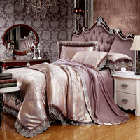 Luxury Flowers Print Bedding Sets Light Mauve Lace Border Linens Silk Cotton Jacquard 4 6pcs Queen