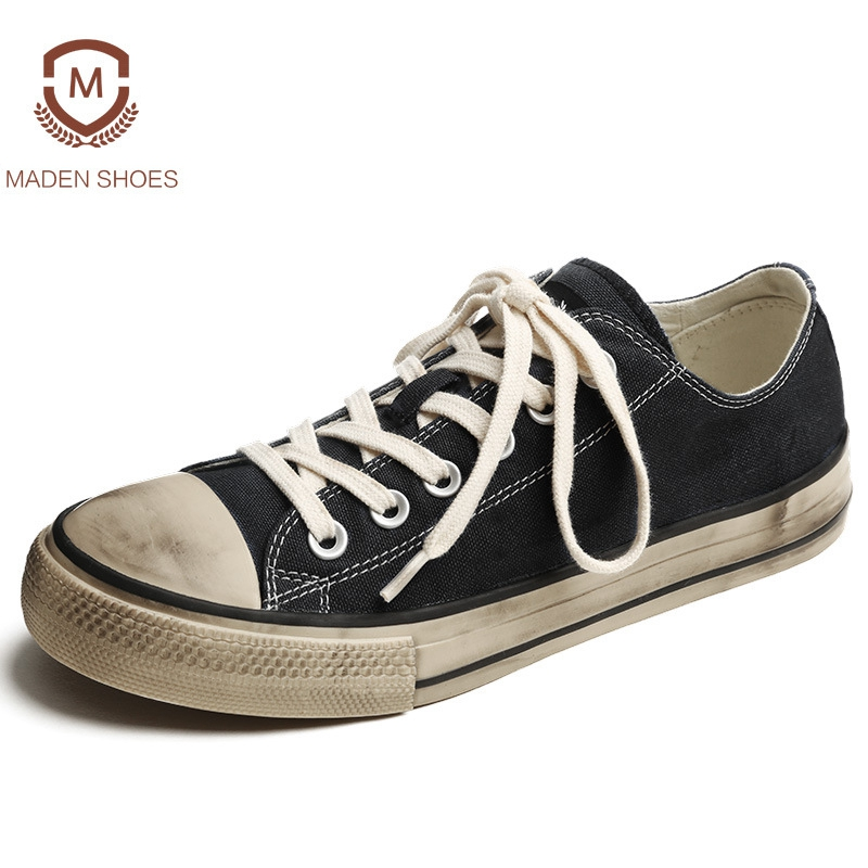 Maden 2018 Spring Summer Canvas Men's Vulcanize Shoes Retro Vintage Old Dirty Design Shoes Classic Japan Kurume Style Sneakers