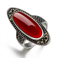 2018 new High quality women jewelry natural semi precious stones 925 stamped Sterling silver big rings vintage boho lovers gift