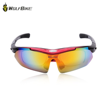 WOLFBIKE Polarized Cycling Eyewear Sun Glasses Mens Sports Bicycle Glasses Bike Sunglasses Driving Skiing Goggles 5 Lens
