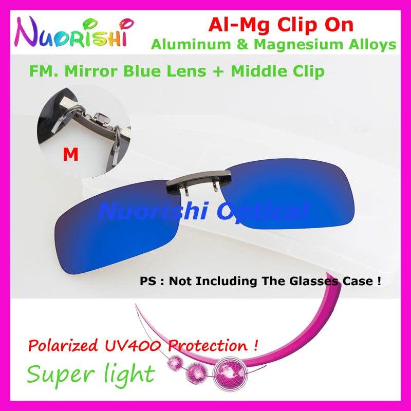 10 шт. сплава al-mg поляризованные Очки очков 7 цветов UV400 линзы клип на для малого и среднего Размеры зажимы cp07 - Цвет линз: FM Mirror Blue