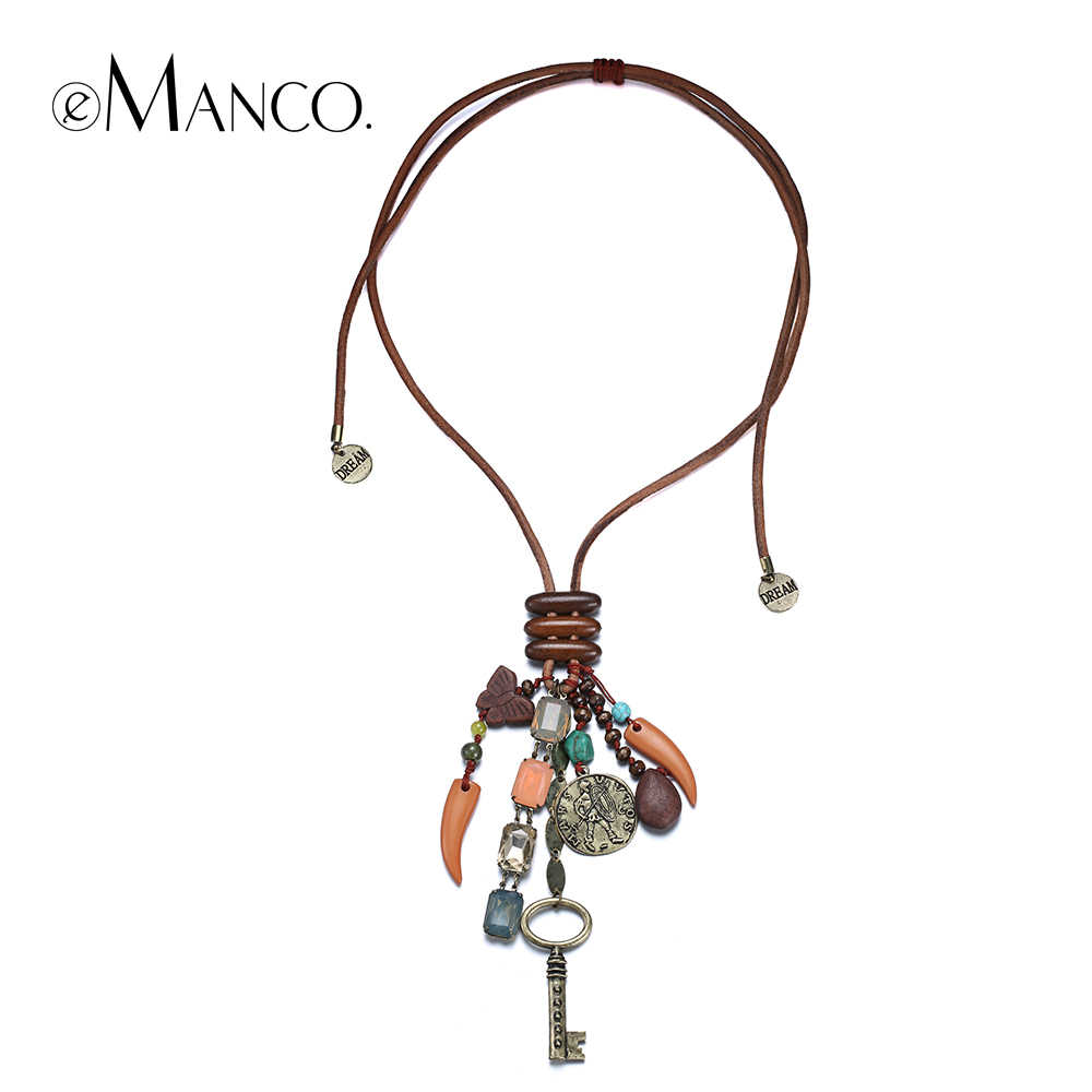 eManco Retro key pendant necklace for women handmade vintage adjustable long leather acrylic alloy accessories necklaces NL13543