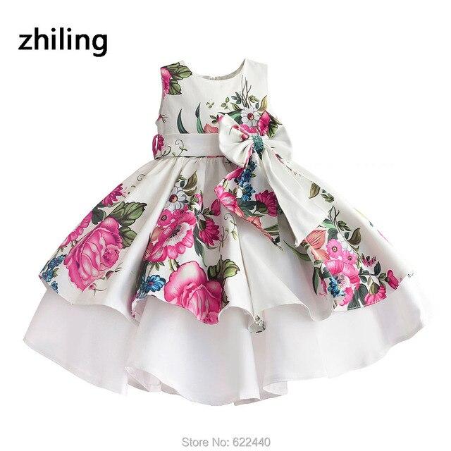 שמלות פרח בנות עם קשת חמודה פרחוניות נערות בנות שמלת מסיבת Cupcake תחרות בנות