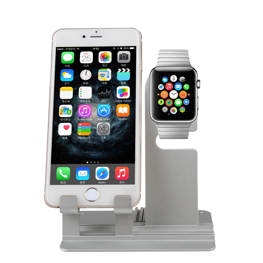 2 In 1 Luxury  Dismountable Aluminium Stand Dock Station Cradle for Apple iWatch iPhone iPod Touch iPad Smart Phone Watch Holder