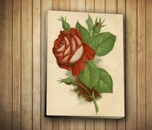 Antigua rosa roja pintura de la lona con camilla marcos, decoración ...