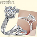 Vecalon fashion Design ring wedding Band ring for women 1ct Cz diamond ring 925 Sterling Silver Female Engagement Finger ring