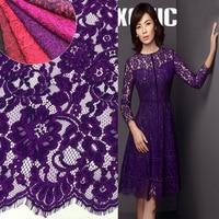 2017 Super Quality High End Cord Eyelash Cotton Lace Fabric 7 Colors Wine Red Purple Fushia
