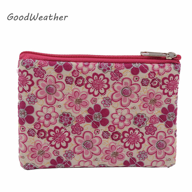 Casual cute floral print coin purse kawaii