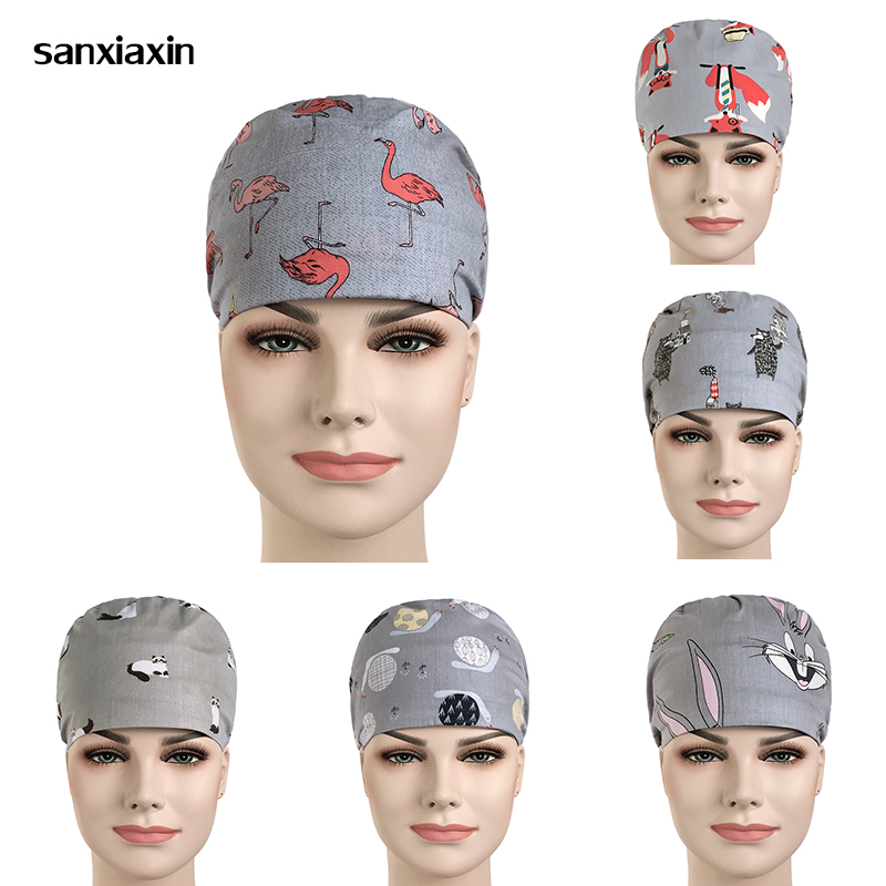 Sanxiaxin Unisex Food Service Working Beauty Cap Female Cap Practical Medical Surgical Surgery Hat Nurses Printing Doctor Hat