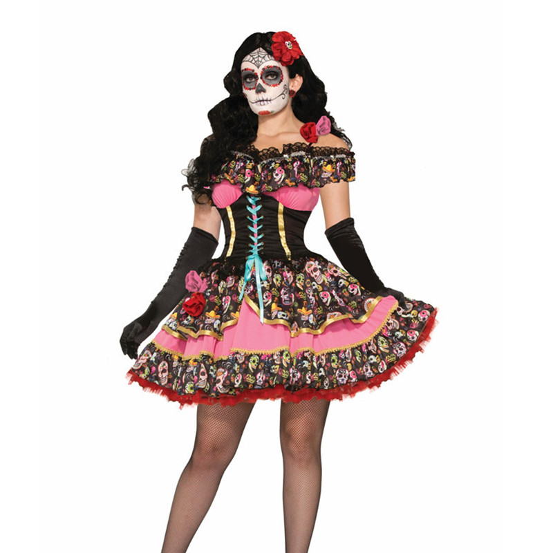 Adults Day of The Dead Costumes Flower Sugar Skull Senorita Dress Halloween Costumes for Women Mexican
