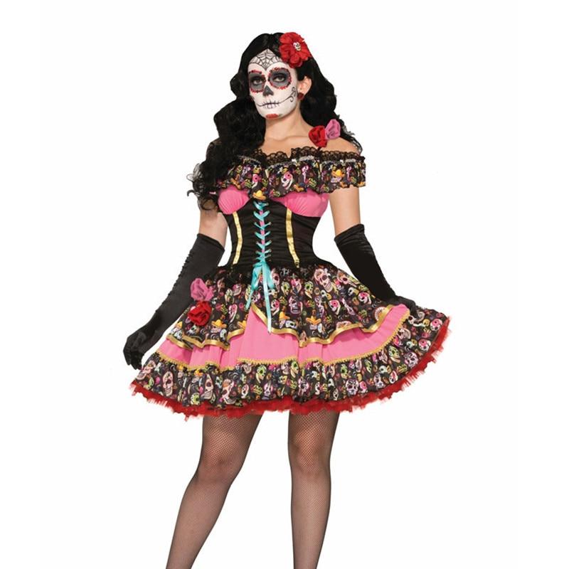Day Of The Dead Girls Fancy Dress Mexican Sugar Skeleton Kids Halloween Costume
