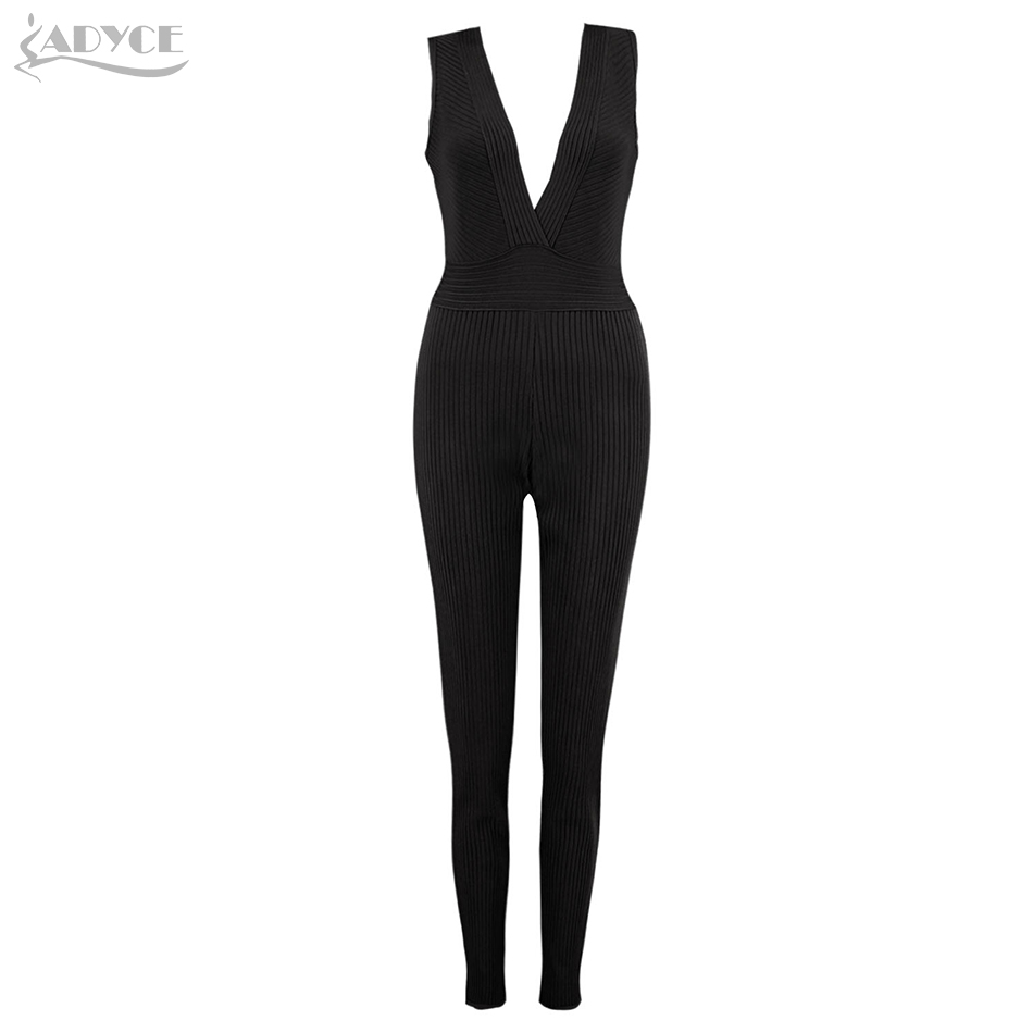 Adyce 2018 Sexy Black Apricot Bandage Jumpsuit Elegant Women Long Celebrity Party Jumpsuits Rompers Sexy V Neck Club Bodysuit sexy apricot deep v neck jumpsuit with collar