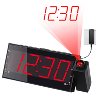 12 Hours Large Number Desktop Clock ,Always on Projector Digital Snooze Alarm Clocks Easy To Read With /AC / USB Power