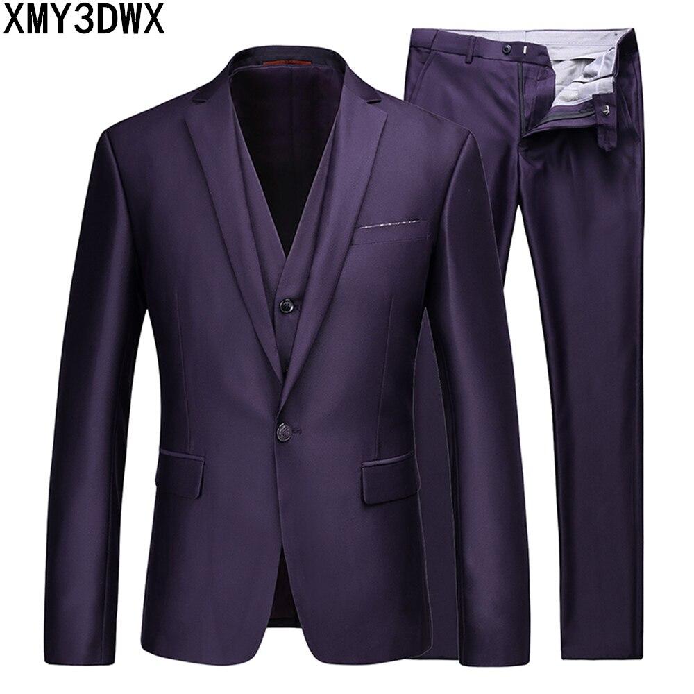 2018 New Arrival Business Suit Slim Fit Classic Male Solid Suits Good Quality Wedding Suits For Men 3 Pieces (Jacket+Pant+Vest)