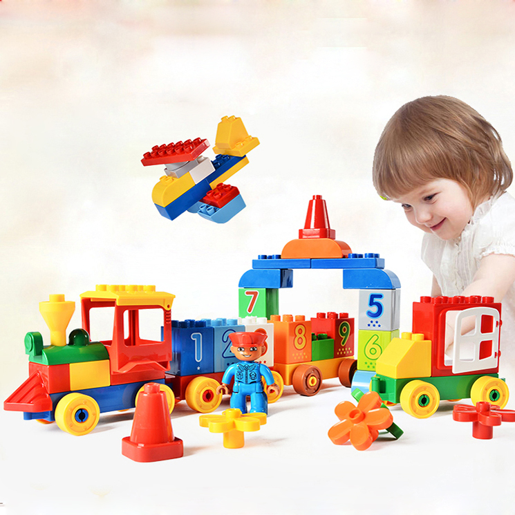 75/65/66/50PCS Big Blocks Number Train Building Set Compatible with Legoed Duploe Educational Toys DIY Baby Toys Building bricks new big size 40 40cm blocks diy baseplate 50 50 dots diy small bricks building blocks base plate green grey blue