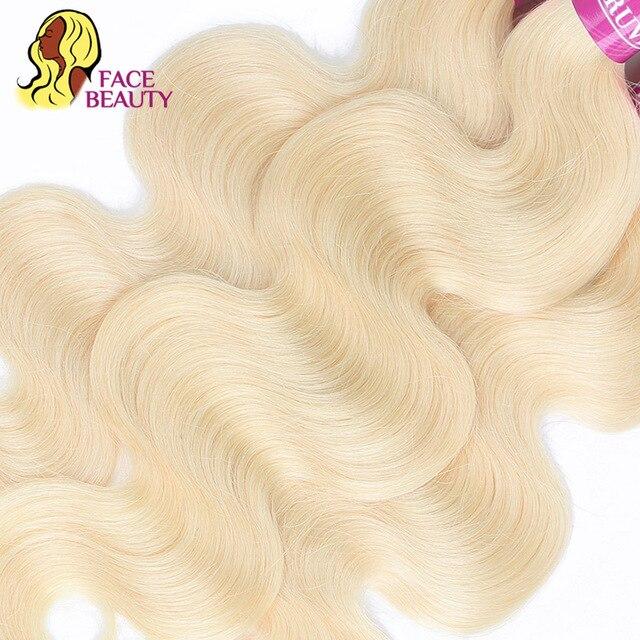 Facebeauty Color 613 tejido pelo rubio 1/3/4 mechones pelo peruano ondulado Remy Paquete de 8 a 30 pulgadas trama de cabello humano Se puede teñir
