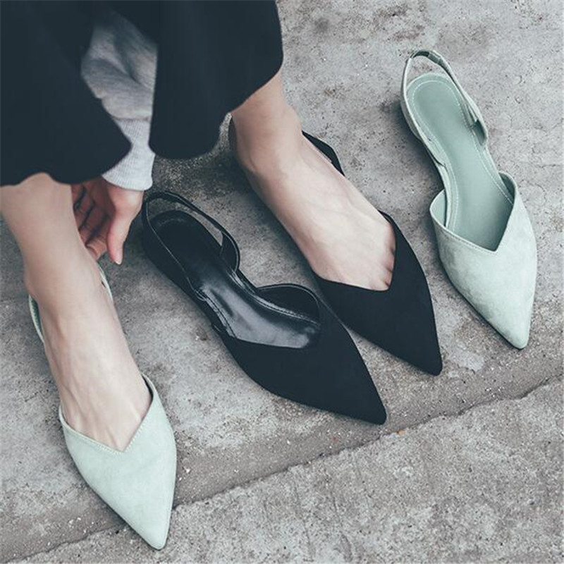 2019 Summer Rome Women Slingback Flat Sandals Pointed Toe Low-heels Dress Sandals For Girls Shoes Zapatos De Mujer E862