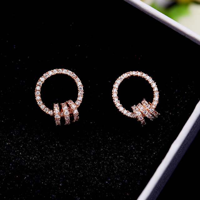 Trendy Round Circles Cubic Zirconia Earrings Rose Gold Color Cz Crystal Stud Women Brincos