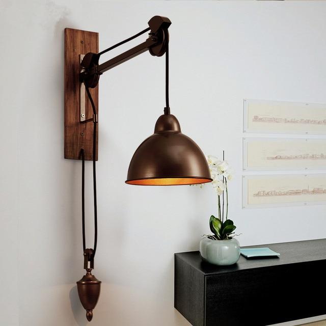 acheter industrielle r tro loft mur lampe de fer poulie broche lumi re caf. Black Bedroom Furniture Sets. Home Design Ideas