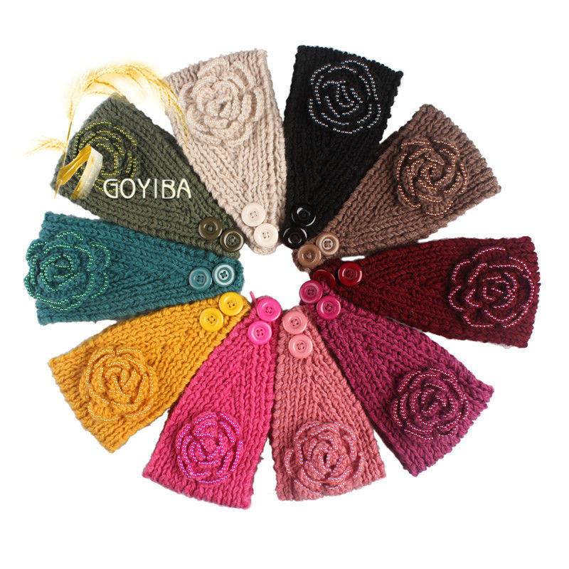 Floral Pearl Knitted Headband Crochet Turban Head Wrap