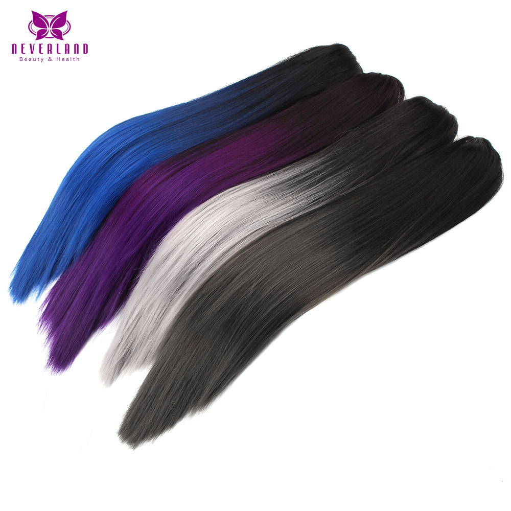 Neverland 20 Purple Blue Grey Ombre Straight Ponytails Heat Resistant Synthetic Claw On Pony Tail Hair