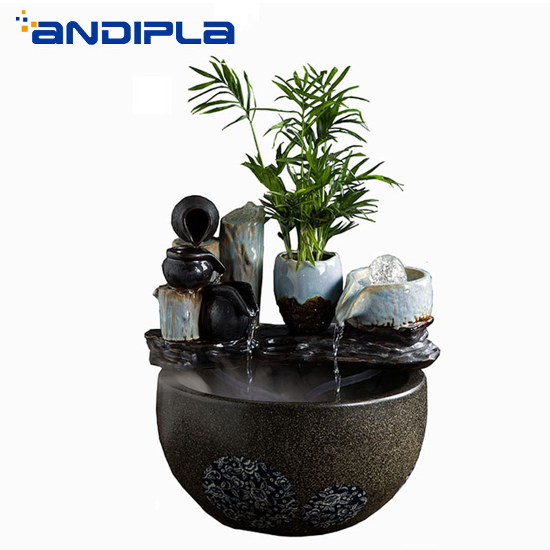 110V 220V Ceramics Desktop Ornaments Flowing Water Fountain Office Hotel Fish Tank Air Humidifier Purifier Lucky Business Gifts