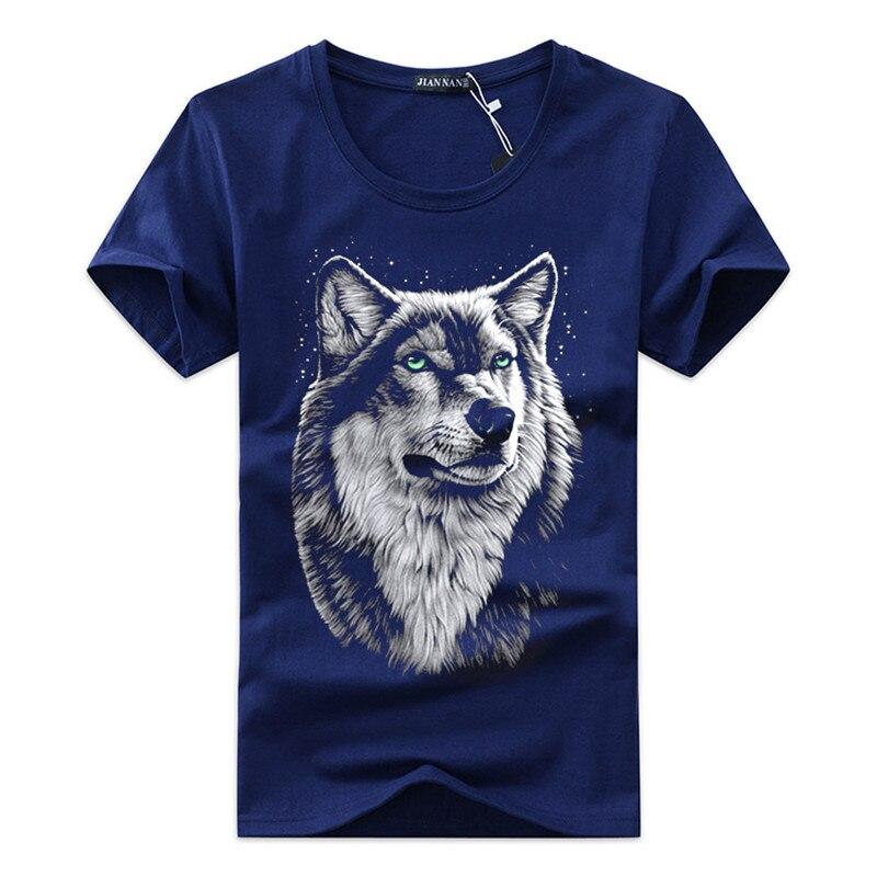 Haute qualité livraison gratuite coton 3d T-shirt hommes 2018 été nouvelle arrivée 3D drôle loup homme T-shirt étendu grande taille 5XL