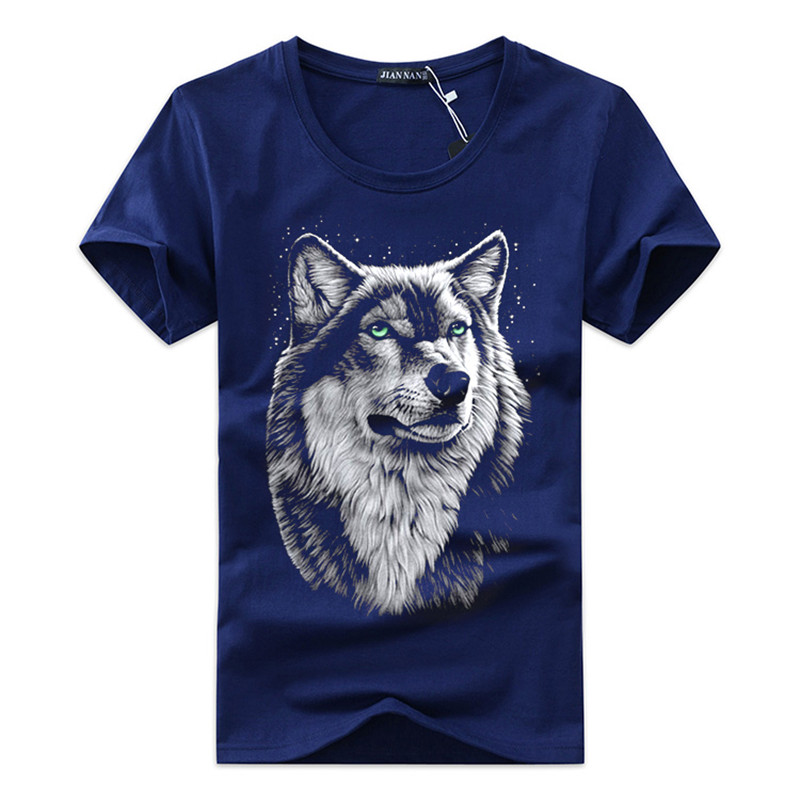 High quality Free shipping cotton 3d   t     shirt   men 2018 summer new arrvial 3D funny wolf man's   T  -  shirt   extended plus size 5XL