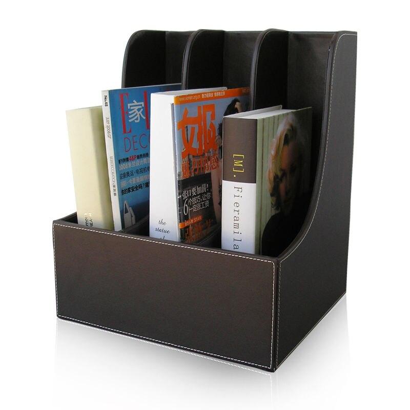 Buy curve 3 slot wood leather desk a4 - Desk shelf organizer ...