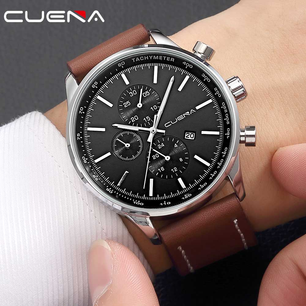 CUENA Fashion Sports Men Watches Top Brand Luxury Leather Waterproof Quartz Wristwatches Relojes Hours Clocks Relogio Masculino kezzi men watches sports waterproof quartz watch luxury brands leather strap watches wristwatches relogio masculino relojes