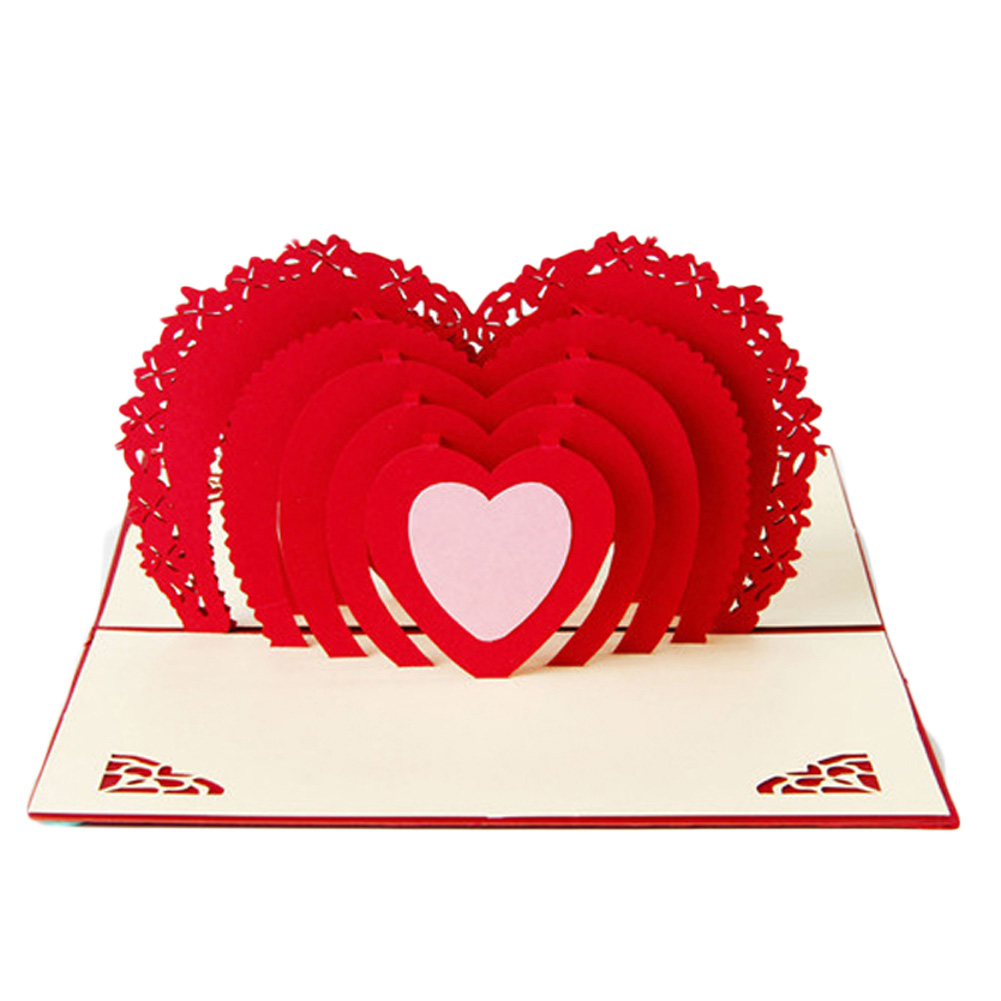 Hot New 3D Pop Up Greeting Card Love Romantic Birthday Wedding Aniversary Valentine's Day Invitations Greeting Cards Gifts
