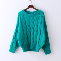 Elastic Collect Waist Drop Shoulder Thicken Woolly Twisted Simple Sweaters Women Beautiful Sweater Pullovers