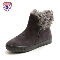 M GENERAL Women Winter Boots Suede Leather Fur On Top Female Botas Mujer Side Zipper Flat