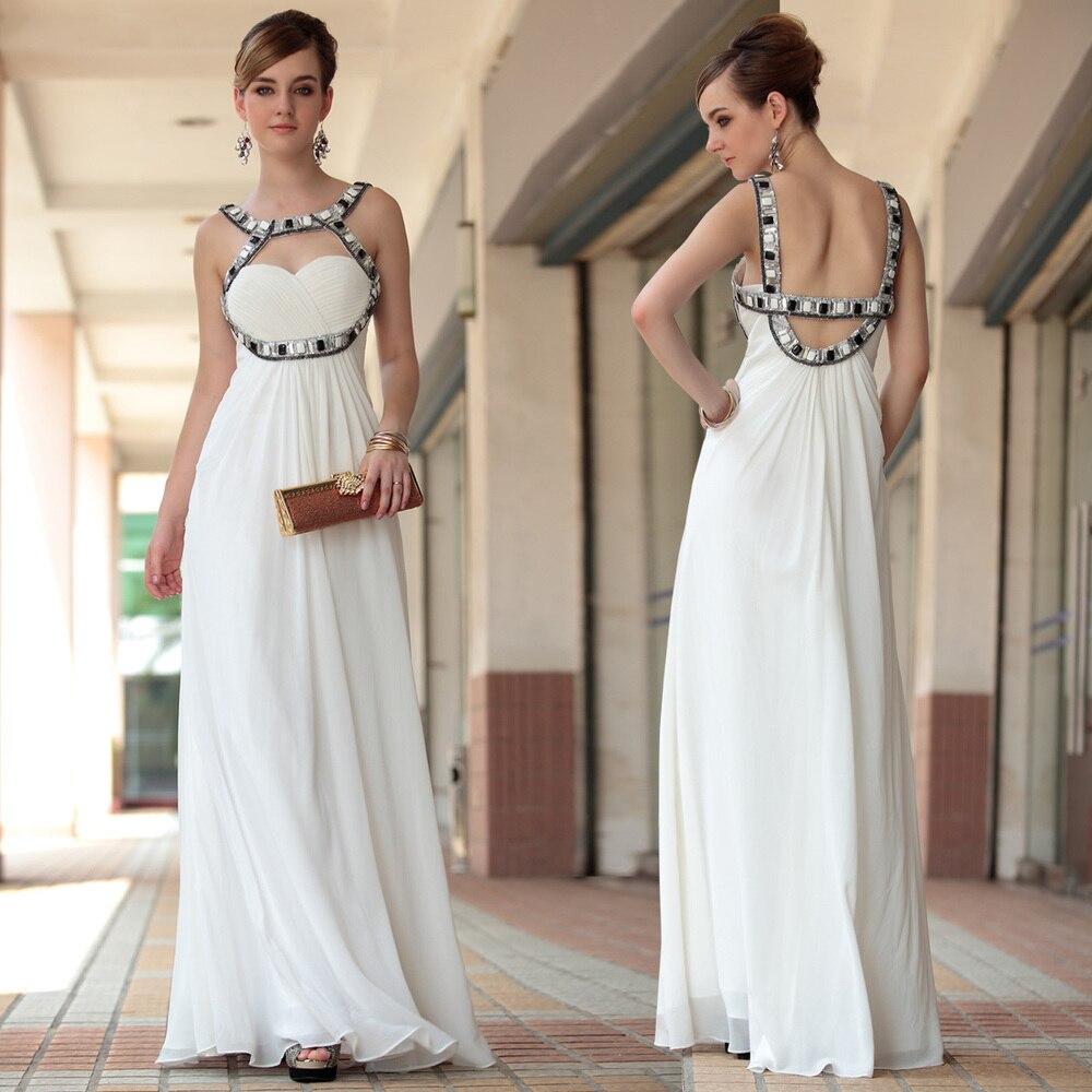 Livraison gratuite 2013 nouveau cocktail blanc élégant sexy mariée halter - cou maxi longue design strass robe perles robes de soirée