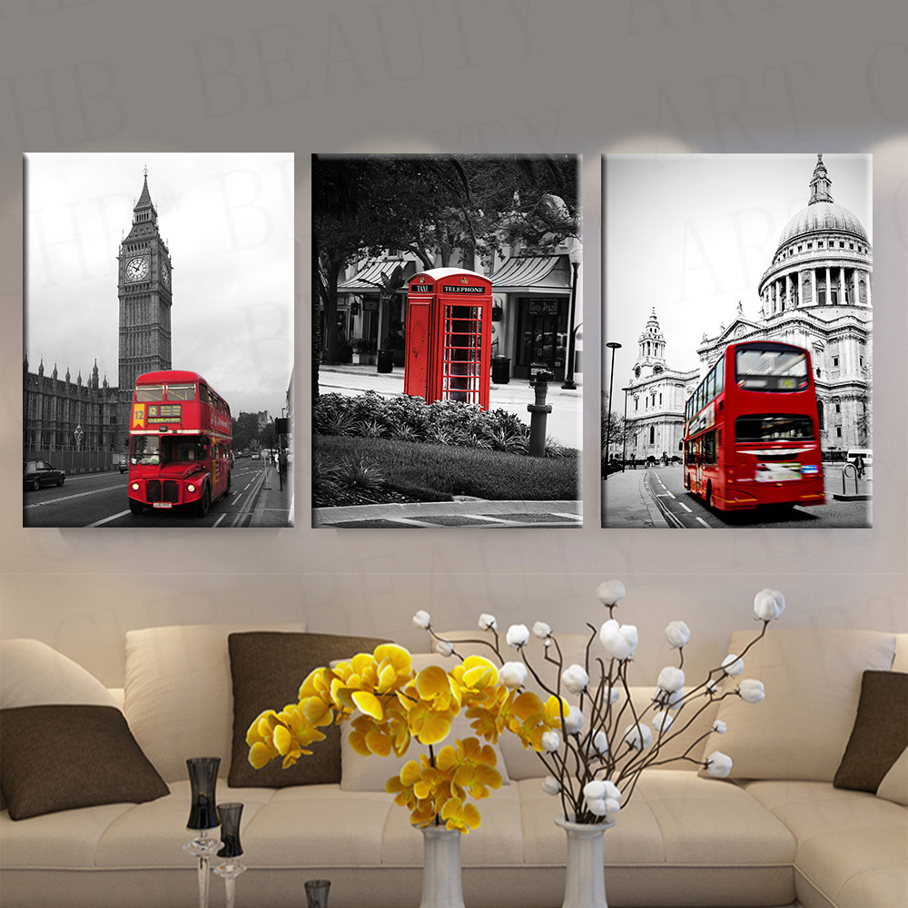 3 piece modern canvas painting red white black paris city for House decoration pieces