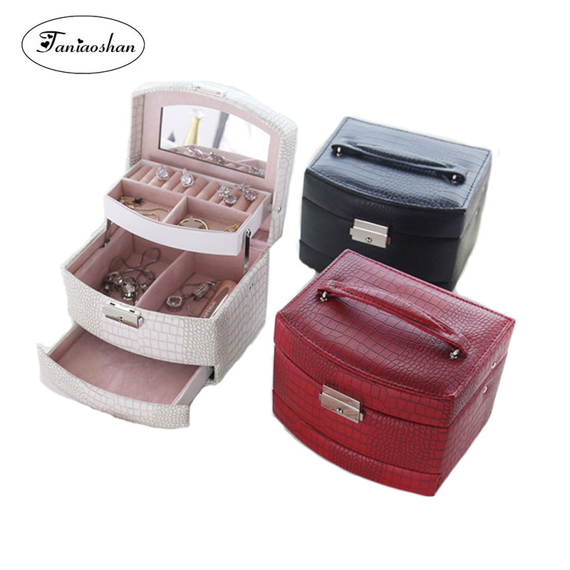 Lizard Striped Automatic Jewelry Box With Lock  Exquisite Three Layer Leather Earrings Storage Casket Portable Fashion Gift BoxLizard Striped Automatic Jewelry Box With Lock  Exquisite Three Layer Leather Earrings Storage Casket Portable Fashion Gift Box