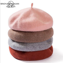 (BINGYUANHAOXUAN)Brand 100% real wool Vintage Warm spring Winter Women Beret French Artist Beanie Hat Cap For Sweet Girl Gift