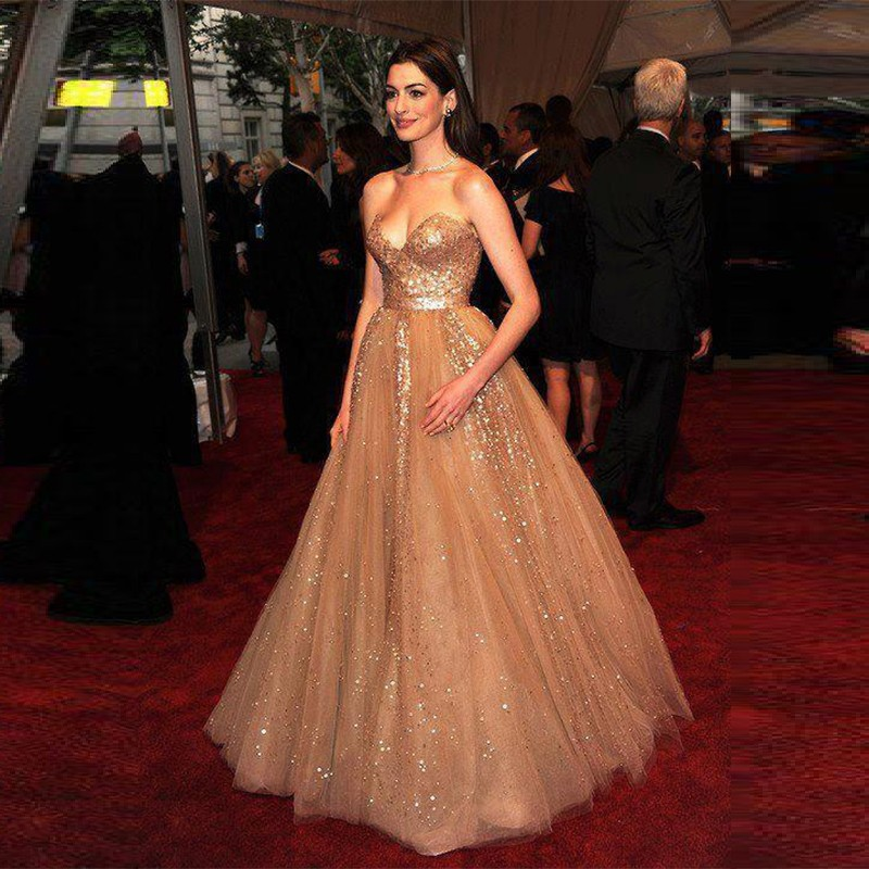 2016-Hot-Champagne-Red-Carpet-Anne-Hathaway-Celebrity-Dresses-Sweetheart-A-line-Organza-Sequins-Evening-Dresses (1)
