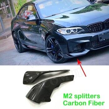 2 Series Car Front Bumper Lip Splitters Flaps Cupwings Carbon Fiber for BMW F87 M2 Coupe 2 Door 2016 2017 2018 2 PCs/Set