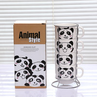 4pcs/set Panda Cup Bone China Coffee Mugs Kitchen Drinkware Christmas Gift with Steel Rack Cartoon Mugs Tea Milk Cups