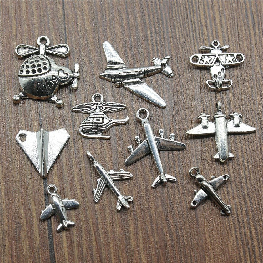 15pcs/lot Aircraft Charms Antique Silver Color Airplane Charms Pendants For Bracelets Airbus Charms Making Jewelry image